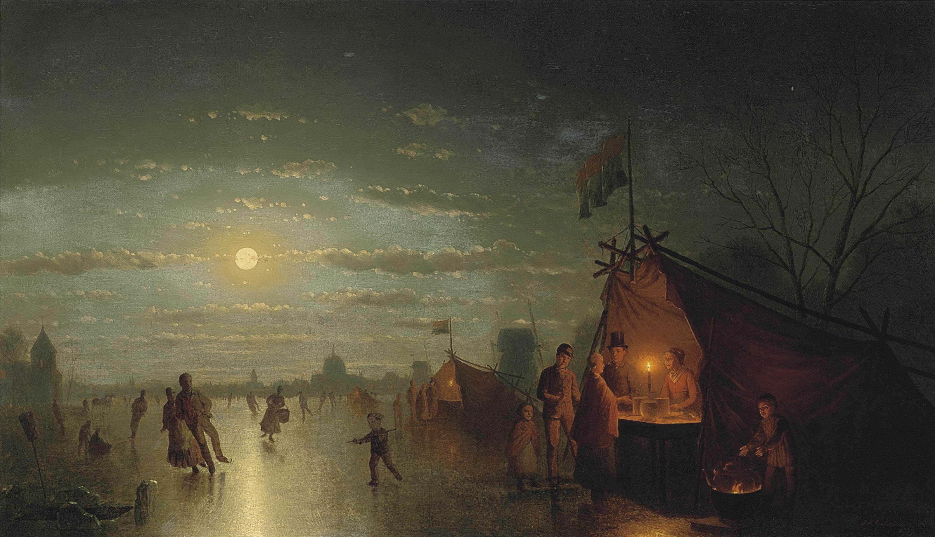 Skaters before a riverside town