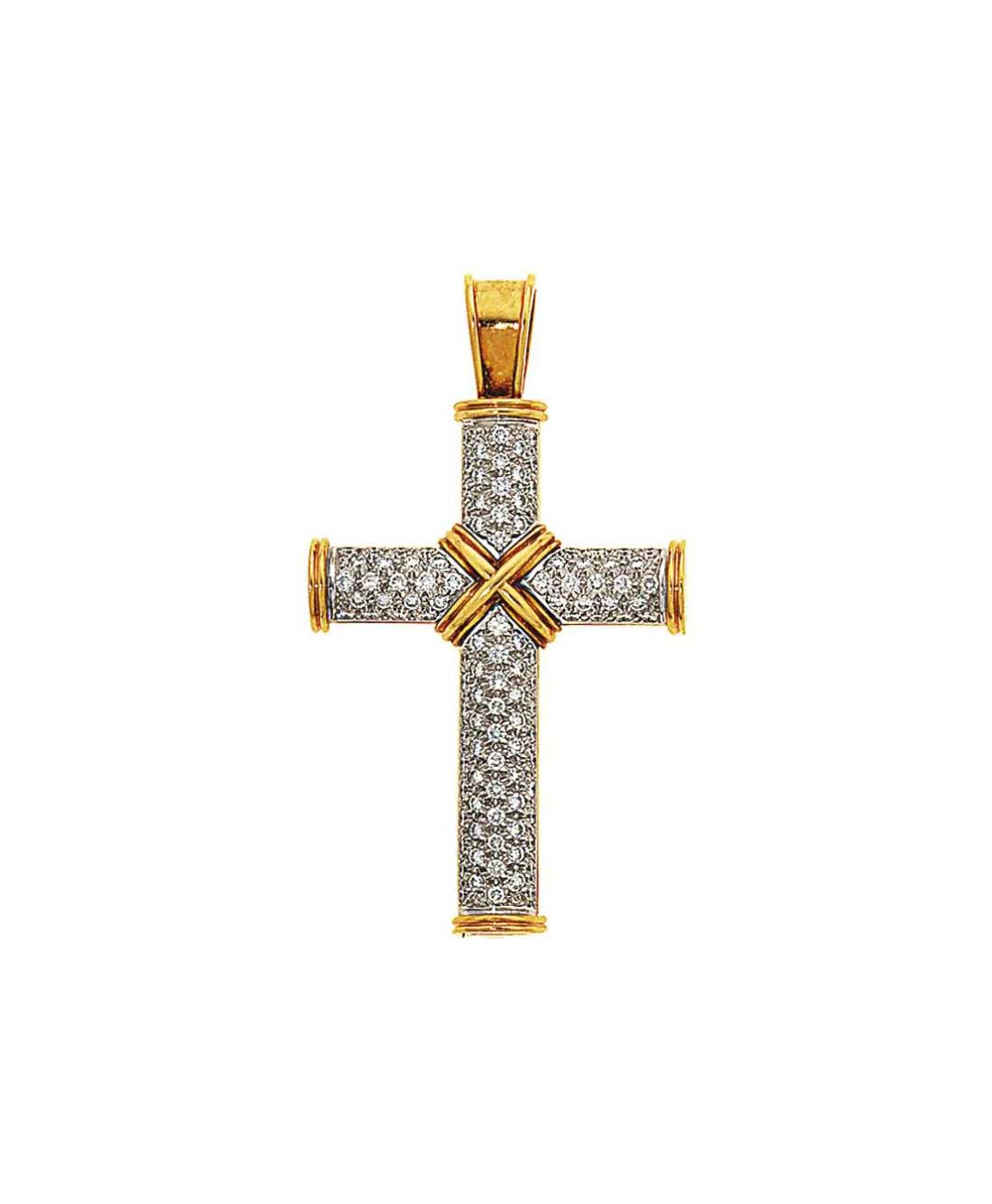 A diamond-set gold cross pendant, by Theo Fennell