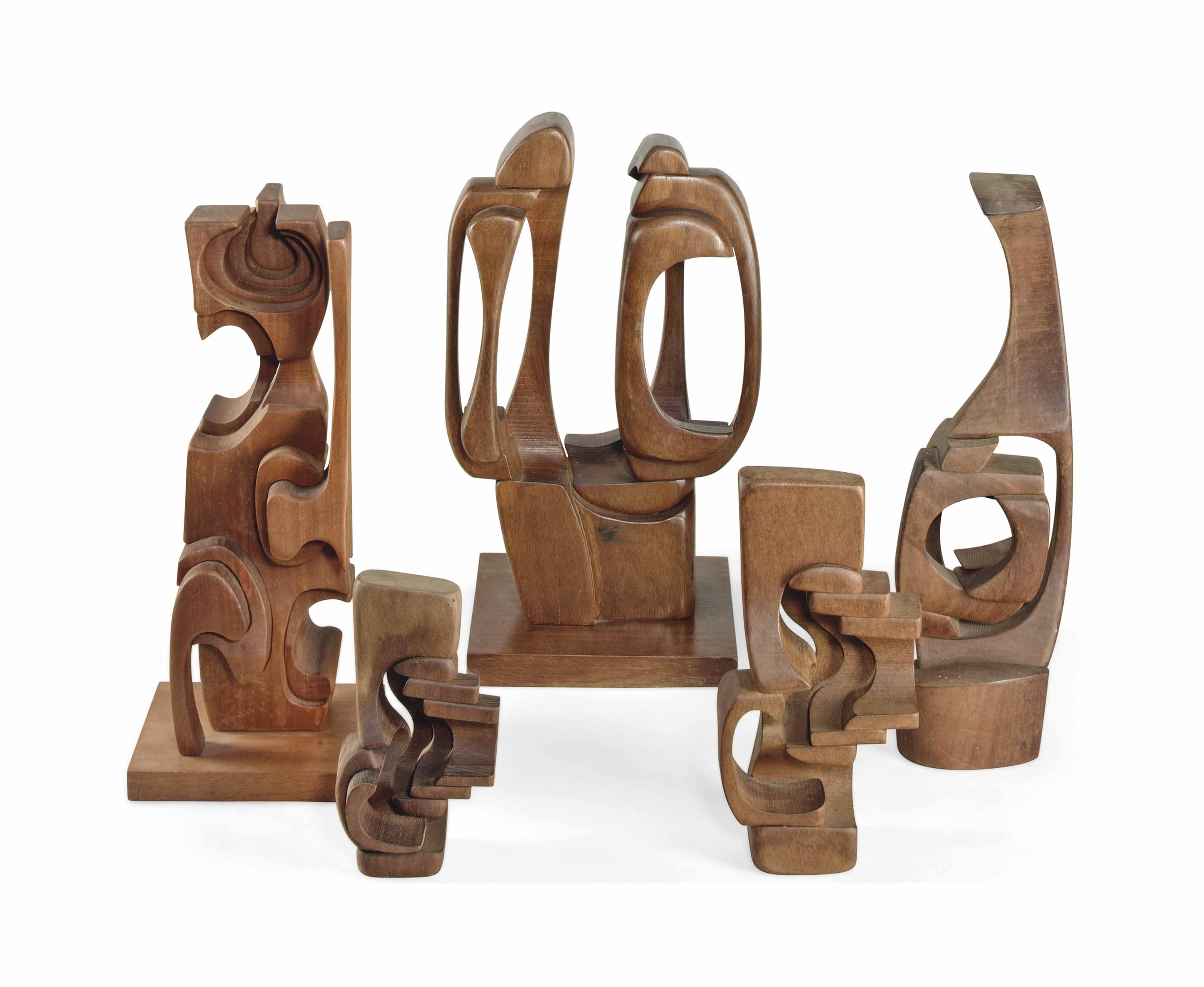 A GROUP OF FIVE BRIAN WILLSHER (b. 1930) ABSTRACT WOOD SCULPTURES