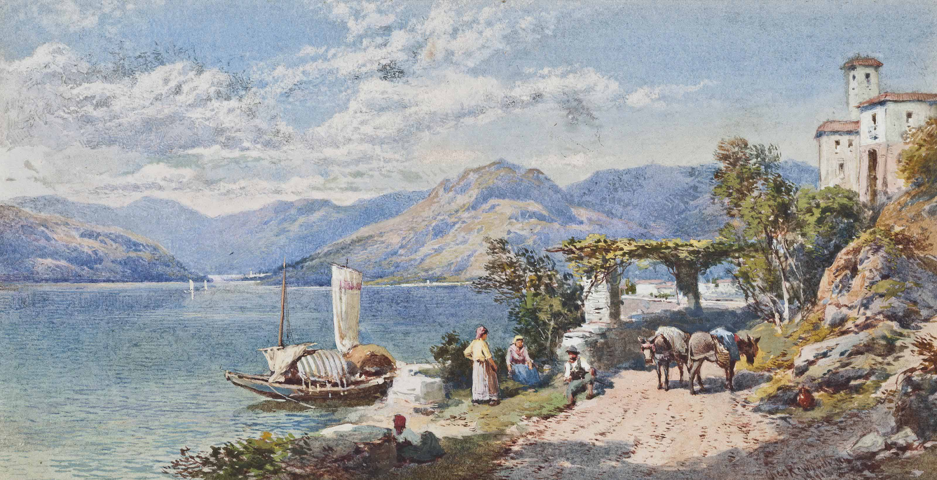Near Varanna, Italy (illustrated); and At Newnham on the banks of the Severn, fishermen sorting their catch