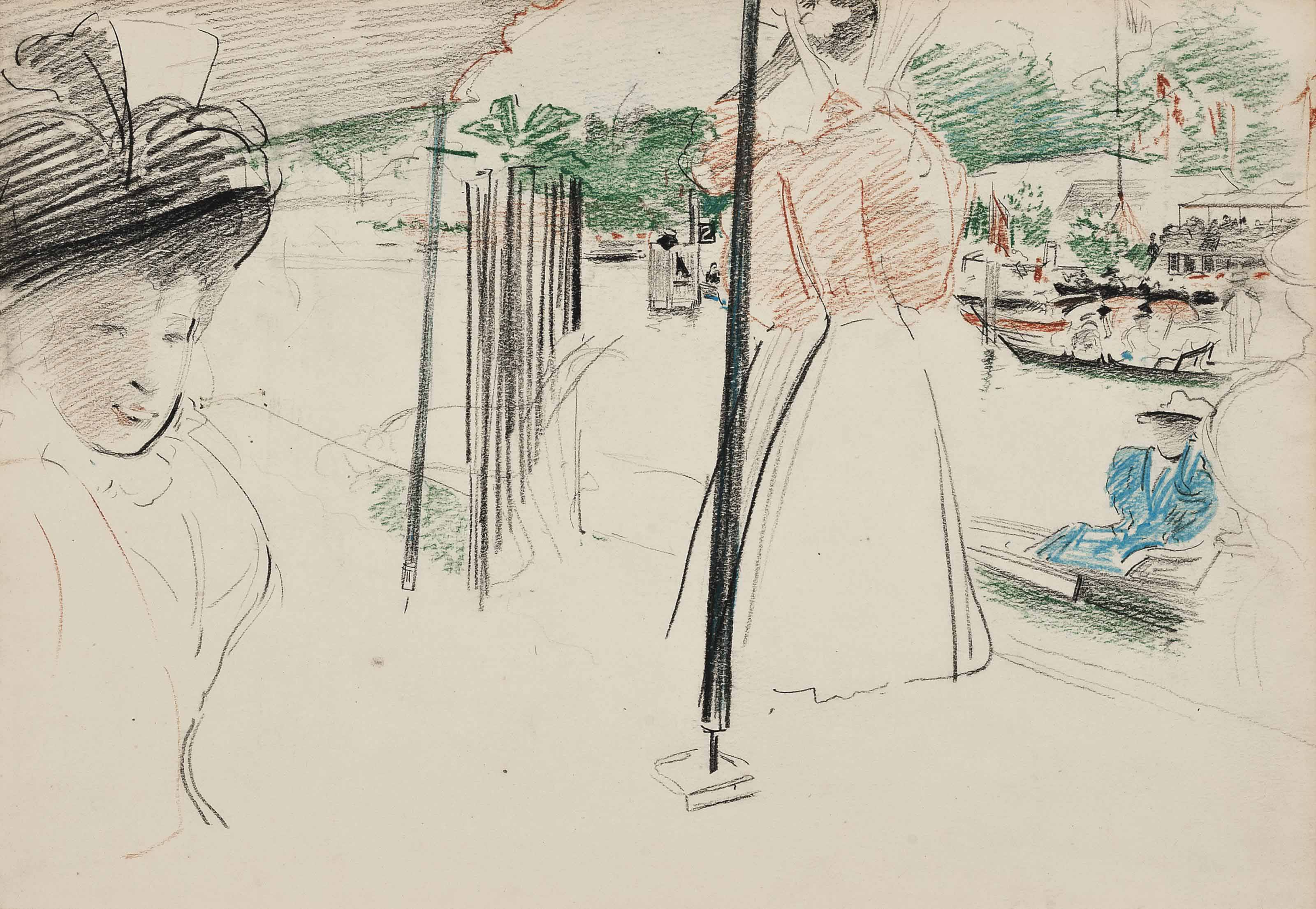Three studies of elegant figures, including at Henley (illustrated); and in the park