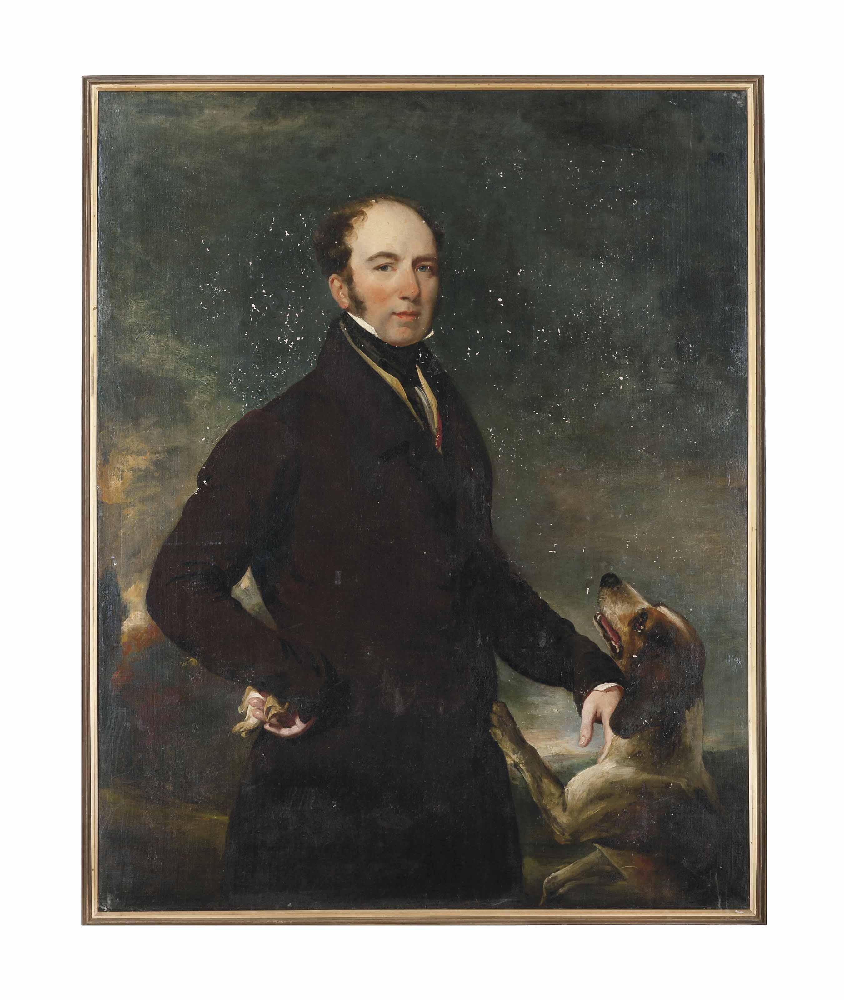 Portrait of a gentleman, three-quarter-length, with a spaniel in a landscape; and Portrait of a lady, three-quarter-length, seated, in a black dress and feathered hat, with a red wrap, a landscape beyond