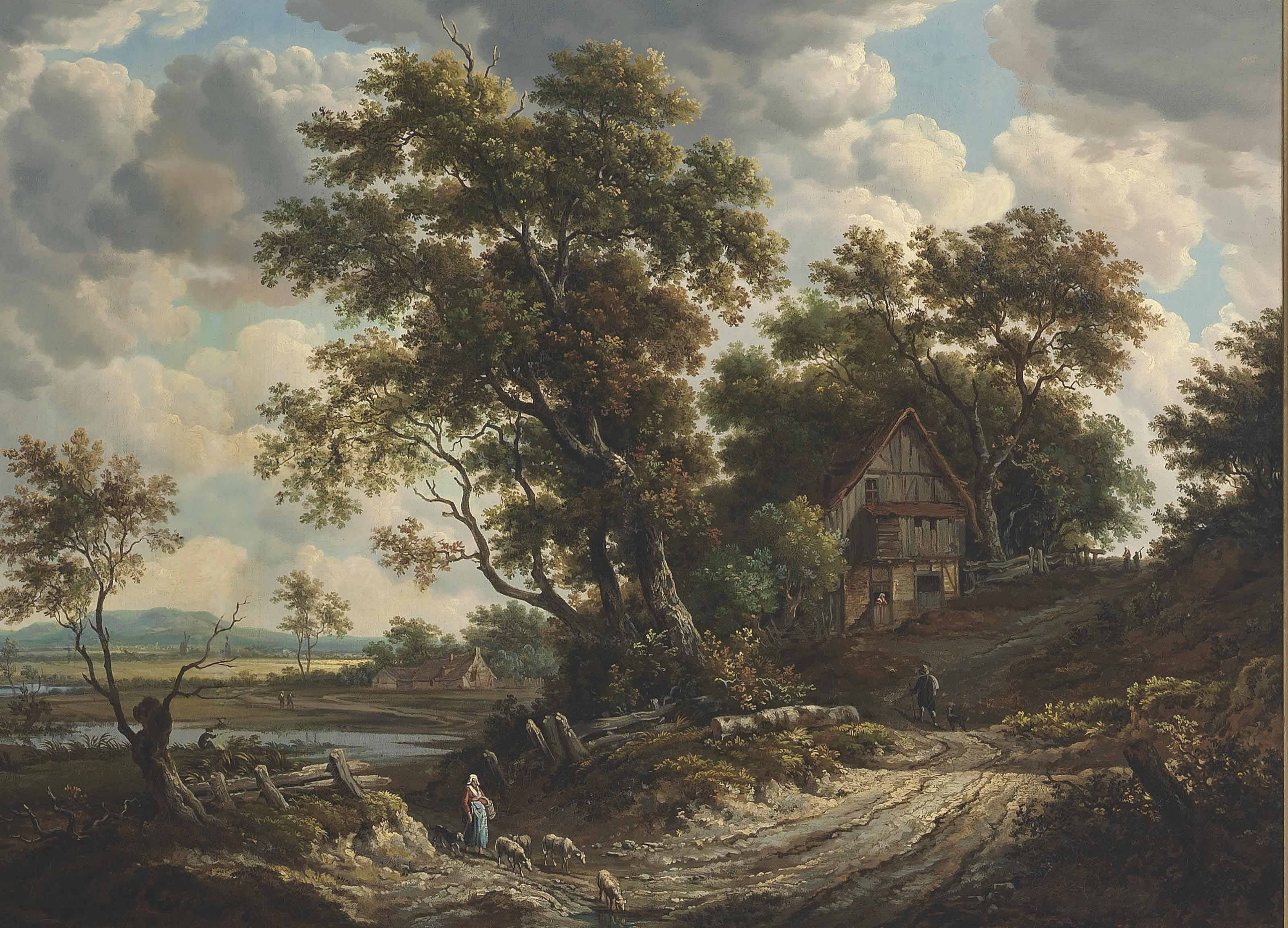 A river landscape, with travellers on a path, and villagers beyond