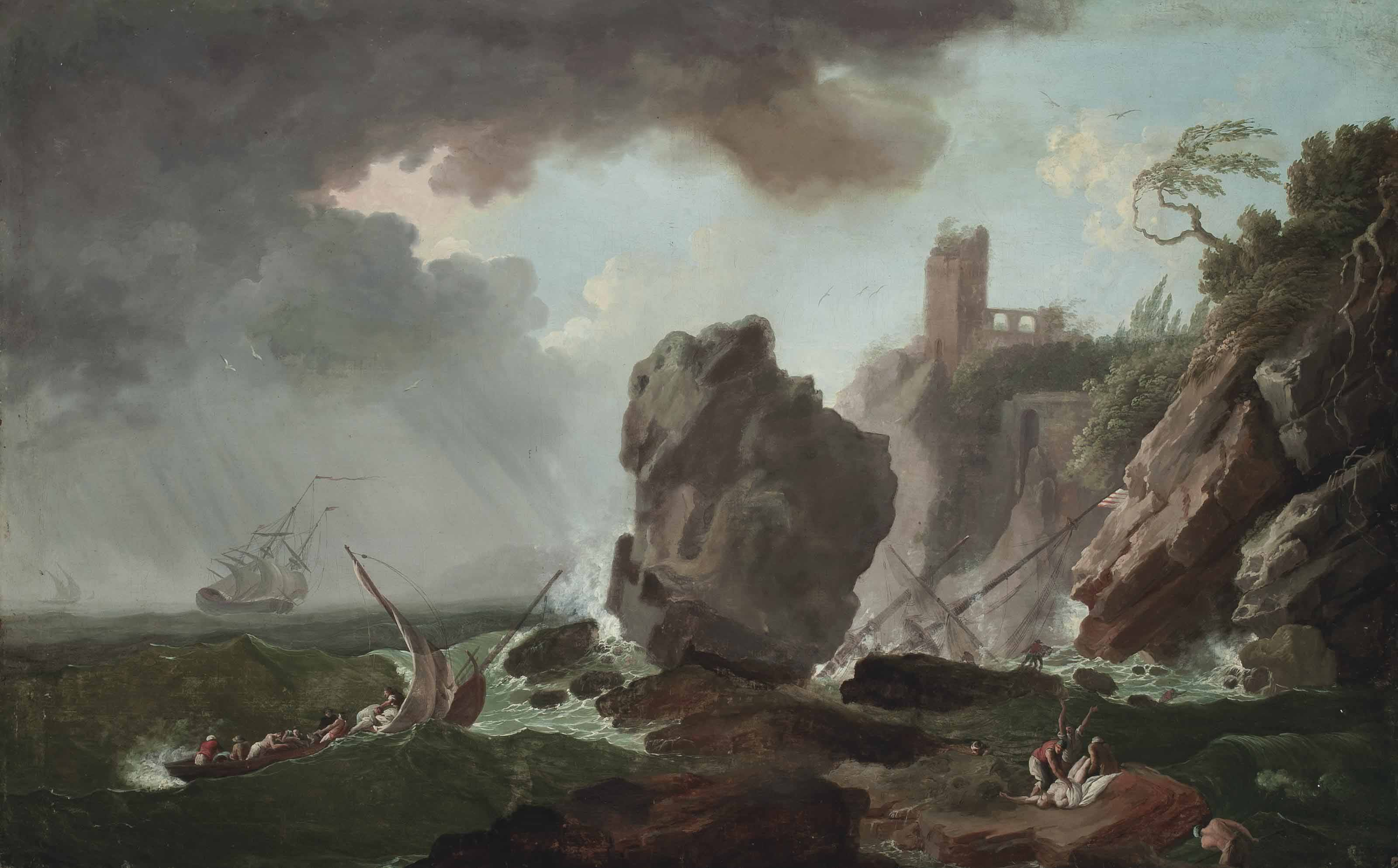 A stormy coastal landscape with a shipwreck