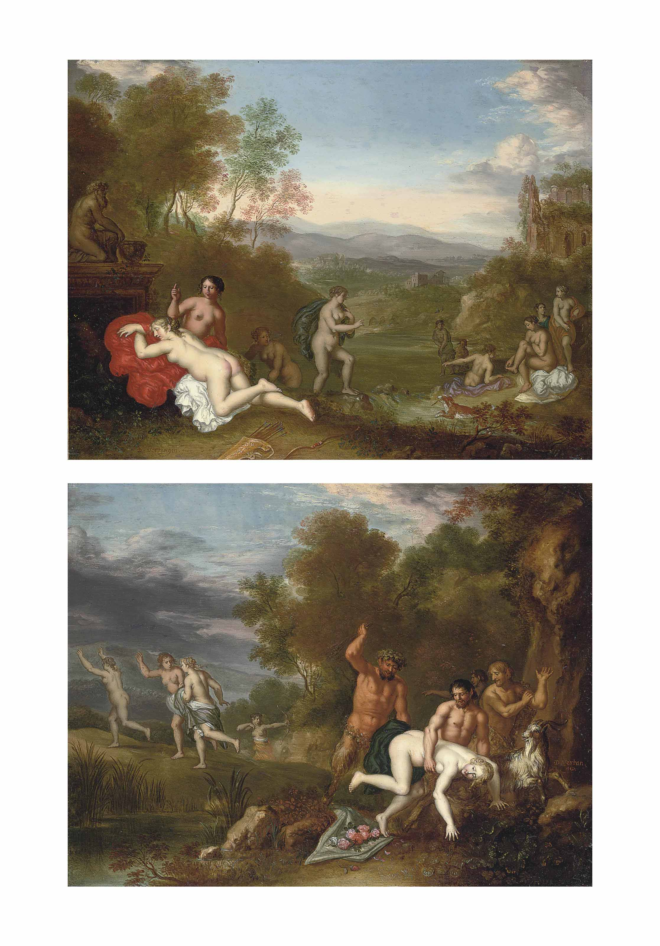 A wooded river landscape with Diana and her nymphs bathing; and A wooded river landscape with a nymph being chastened by a satyr