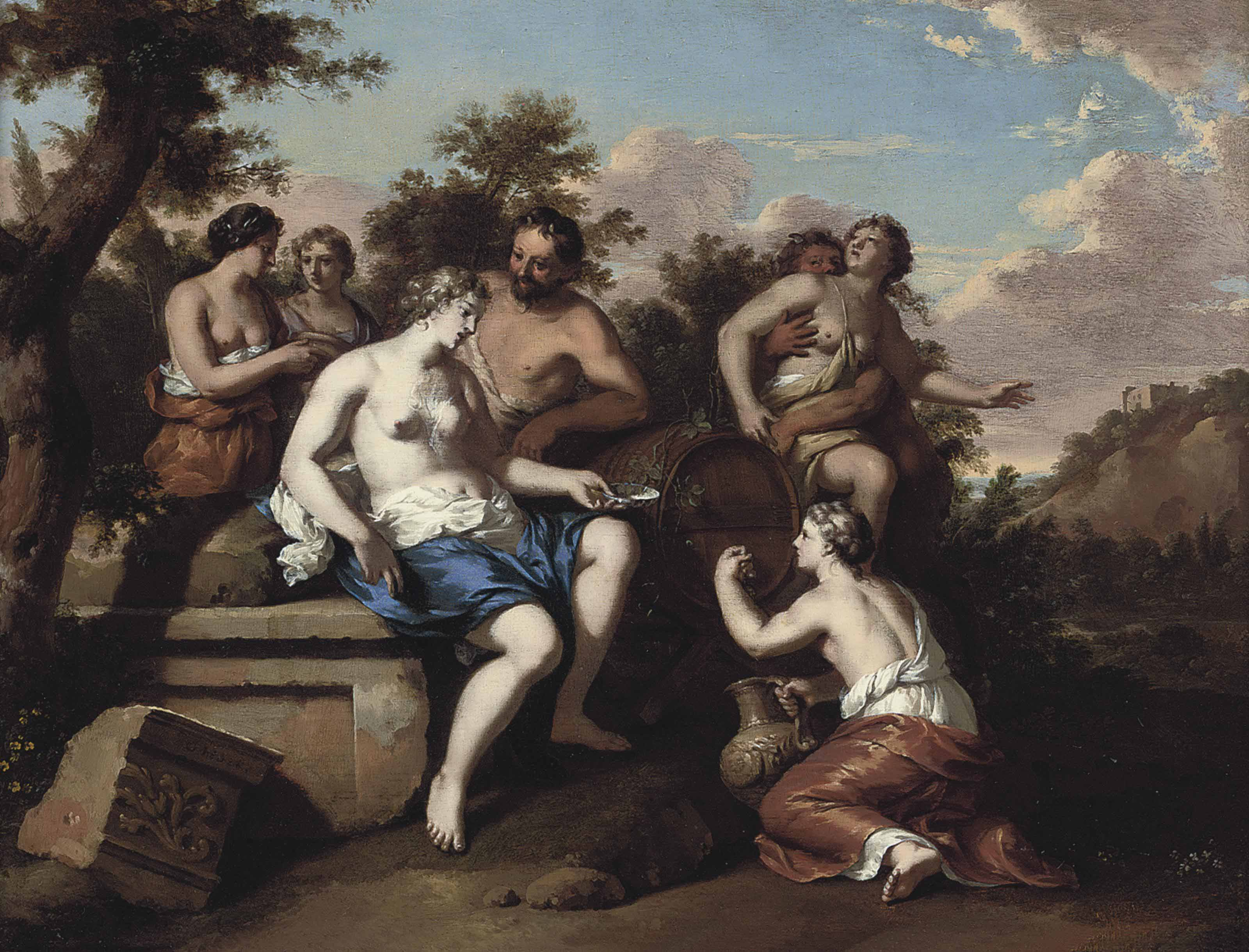 A Bacchanal with nymphs and satyrs