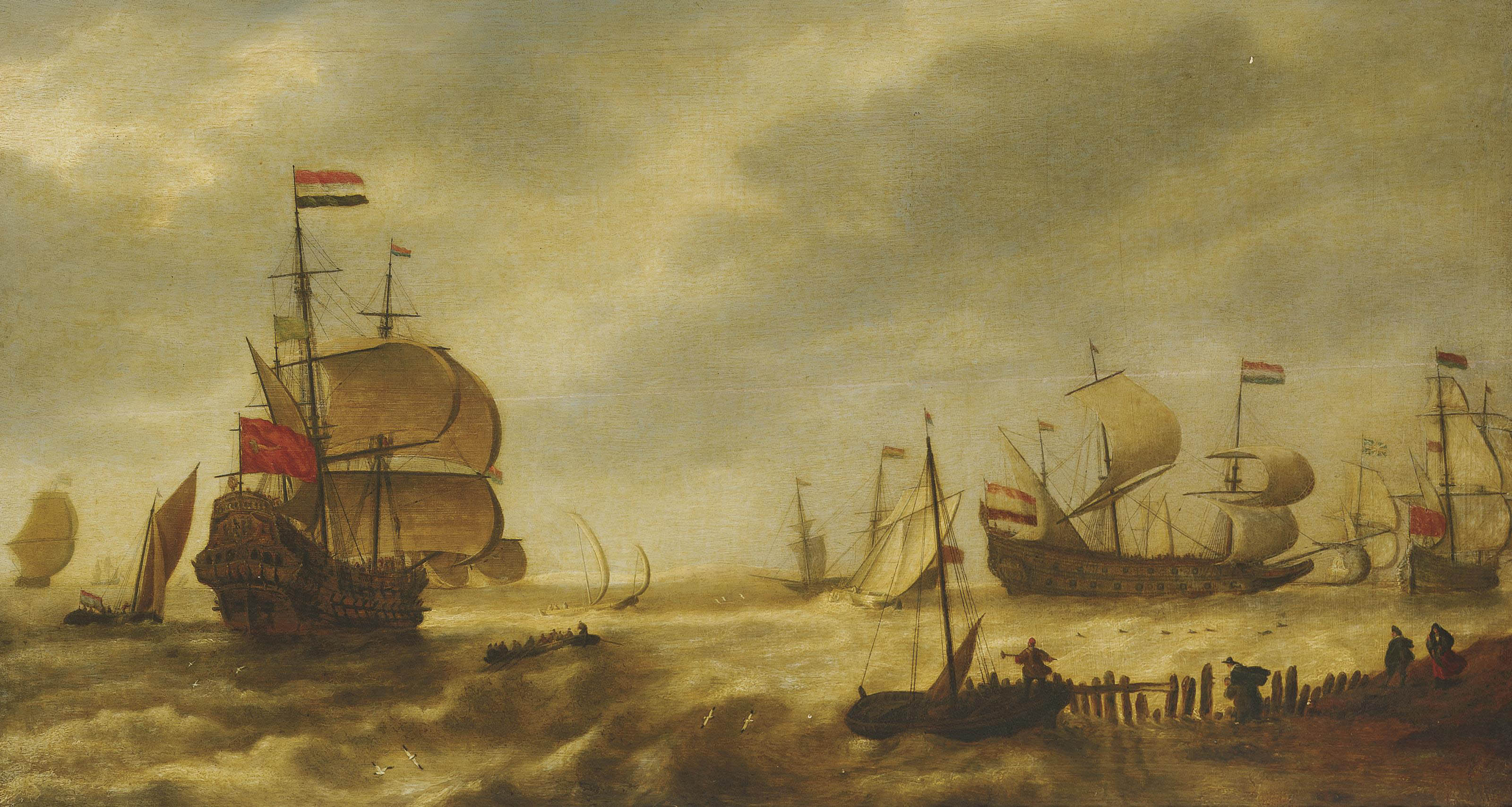 The departing Dutch fleet at the mouth of a harbour