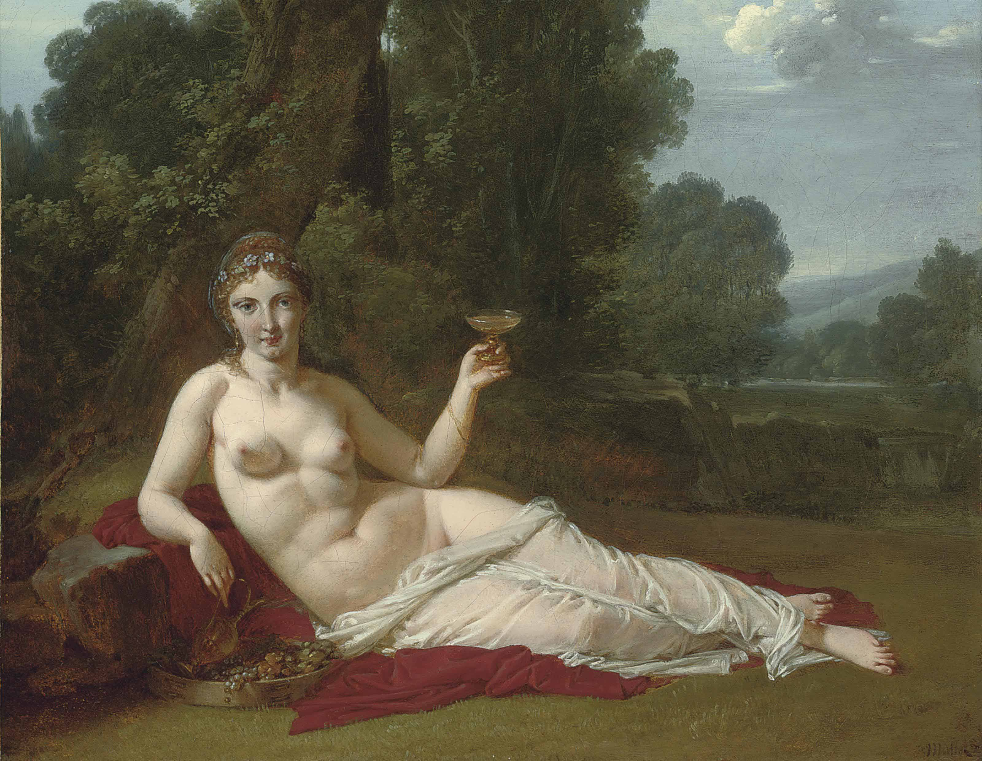 A reclining nude in a wooded landscape