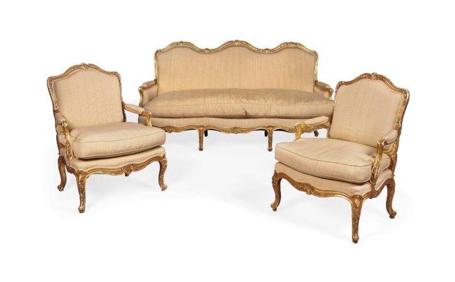 a french giltwood salon suite of louis xv style late 19th century christie 39 s. Black Bedroom Furniture Sets. Home Design Ideas