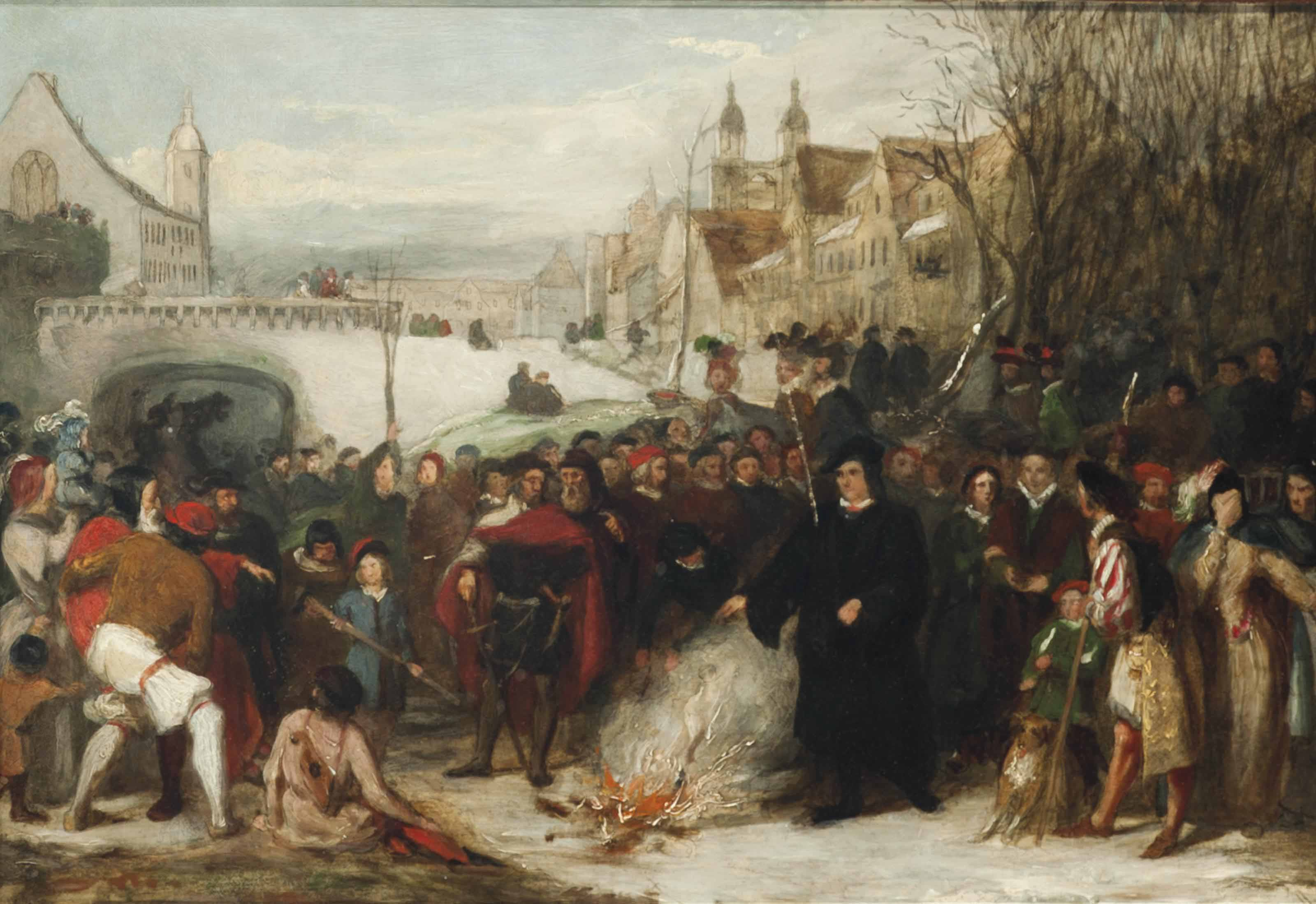 Martin Luther burning the Papal Bulls