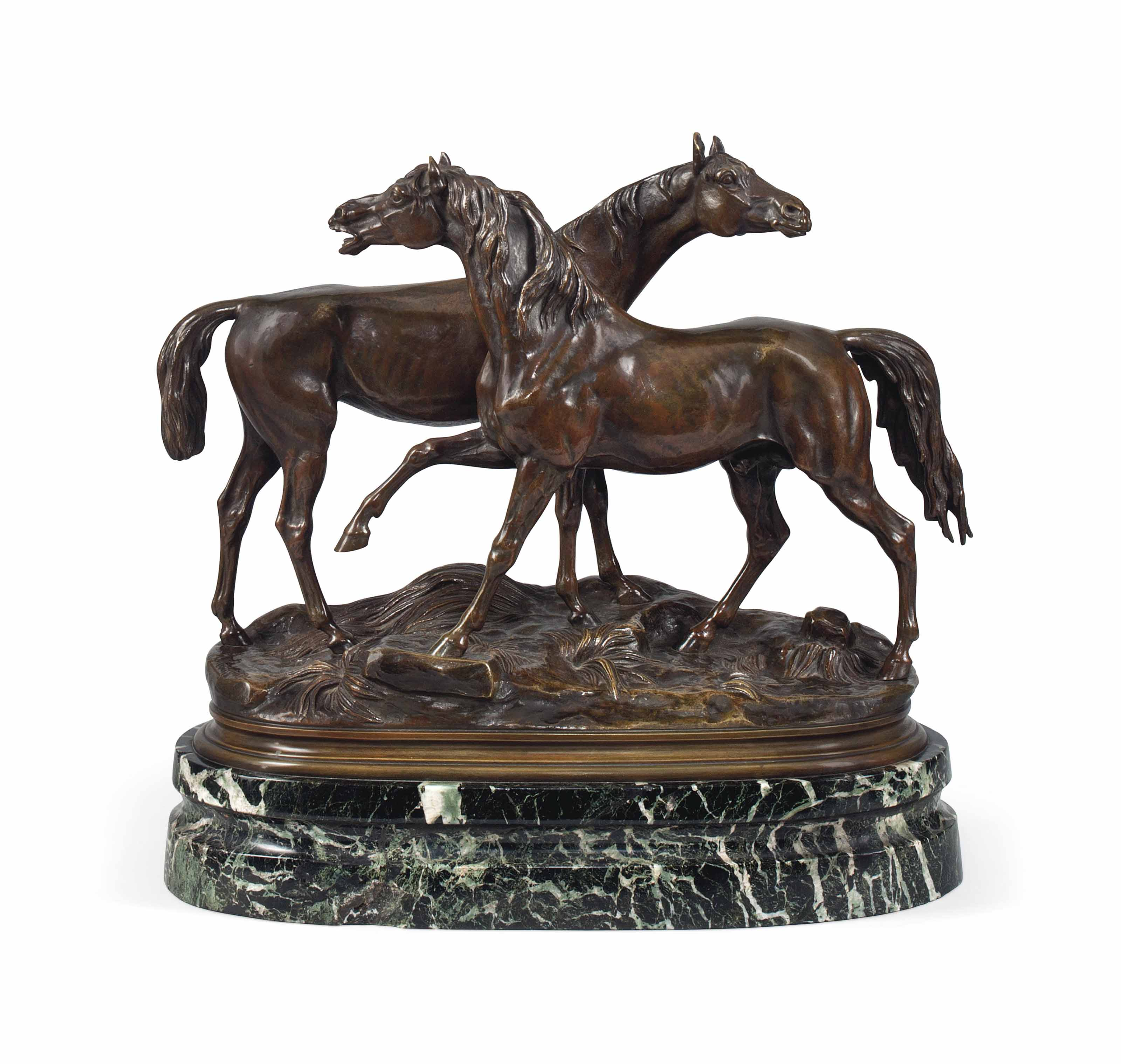 A FRENCH BRONZE GROUP OF TWO HORSES