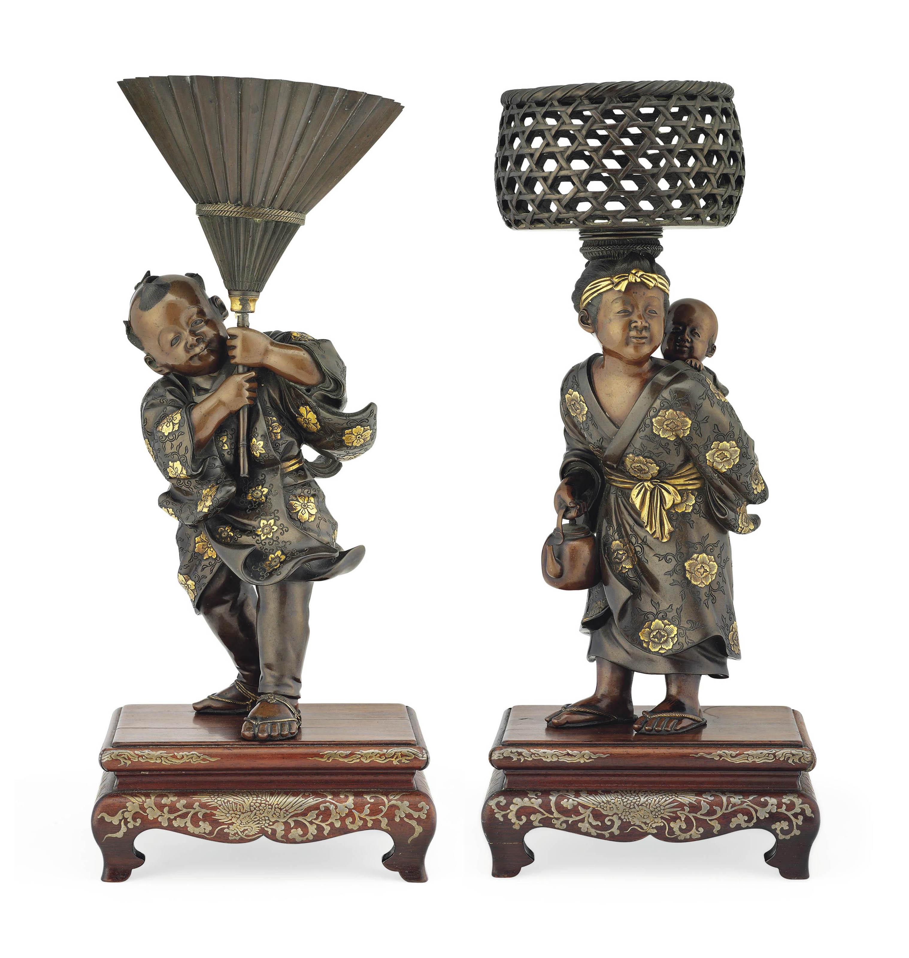 A Pair of Bronze Sculptures