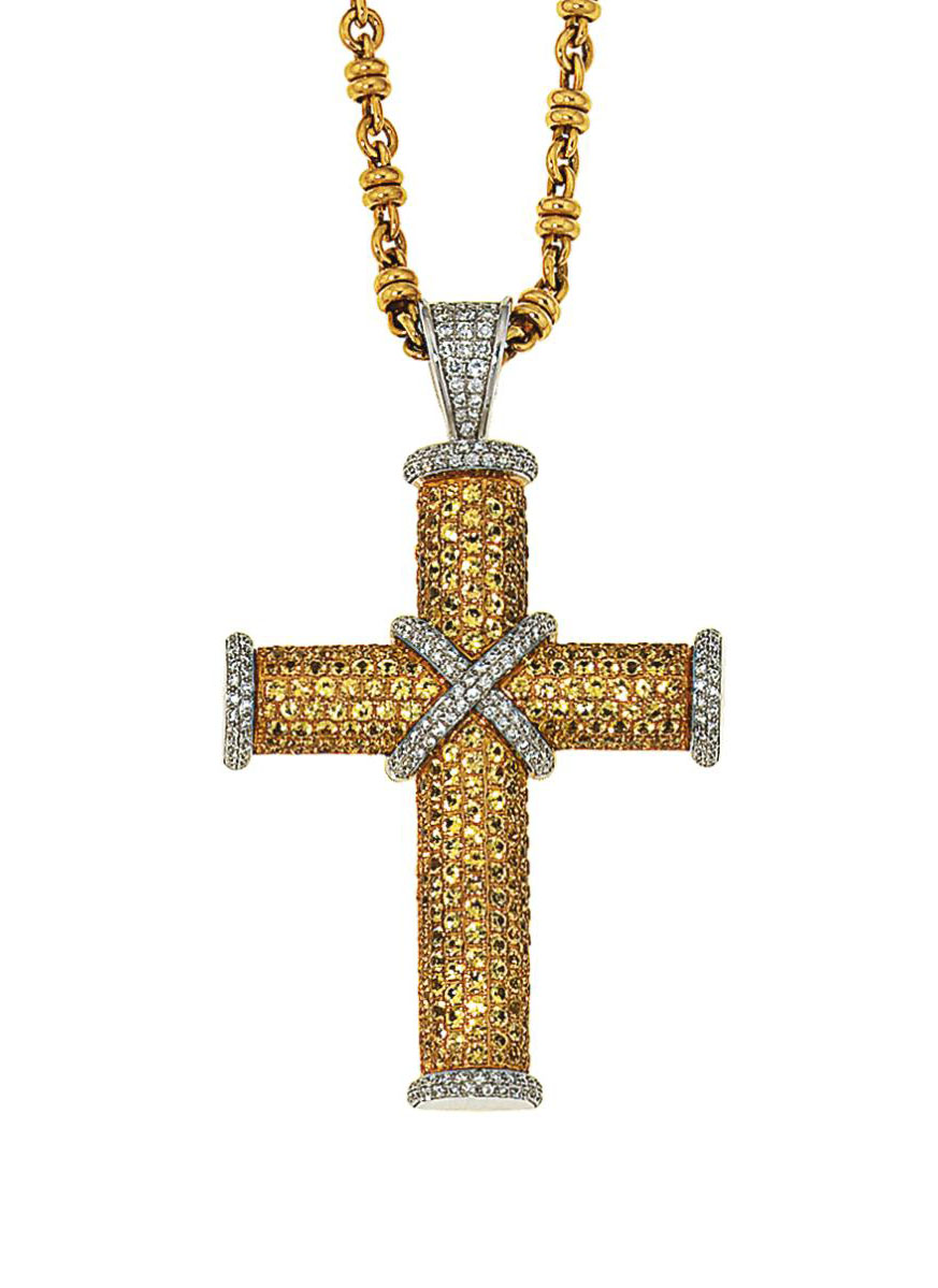 A coloured diamond and diamond cross pendant necklace, by Theo Fennell