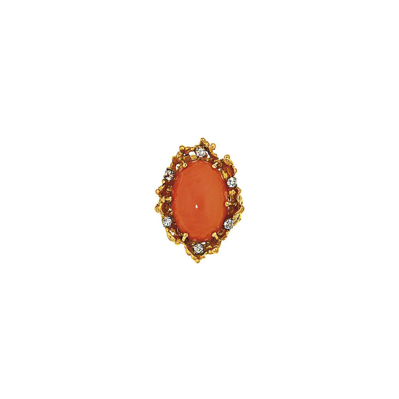 A coral and diamond ring, by Georges Weil