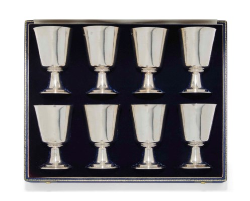 A SET OF EIGHT SILVER GOBLETS