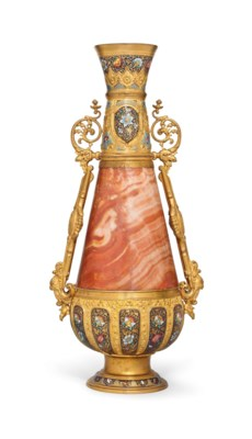 A FRENCH PINK ONYX, CHAMPLEVE