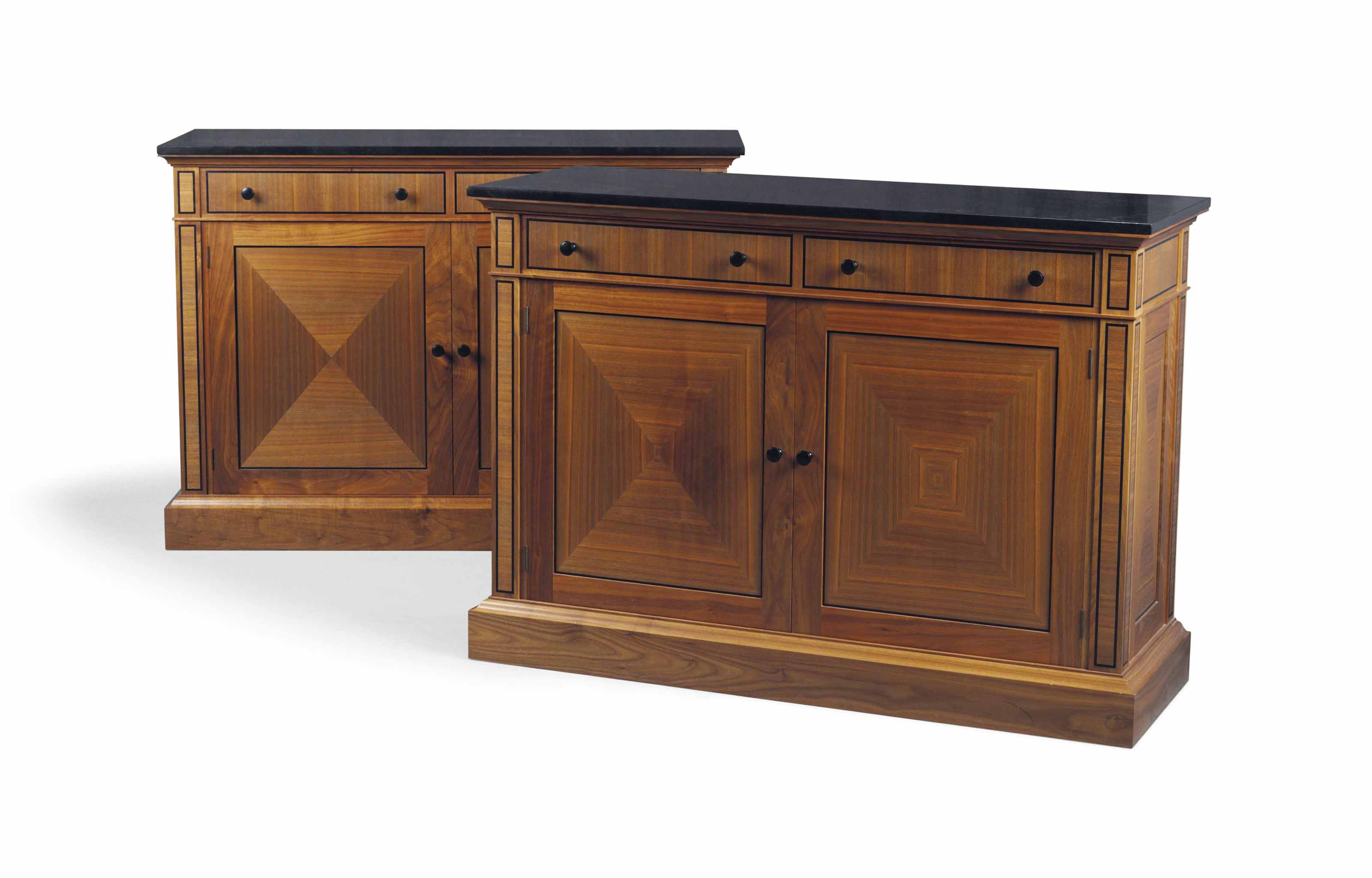 A PAIR OF WALNUT AND EBONY STRUNG SIDE CABINETS