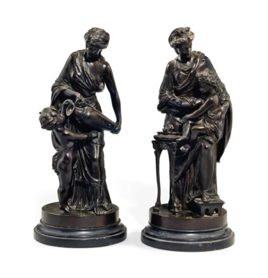 A PAIR OF FRENCH BRONZE GROUPS
