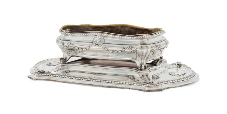 A FRENCH SILVER JARDINIERE AND