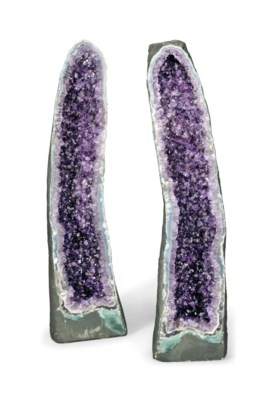 TWO LARGE AMETHYST GEODES