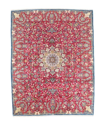 A FINE UNUSUAL ISFAHAN CARPET,
