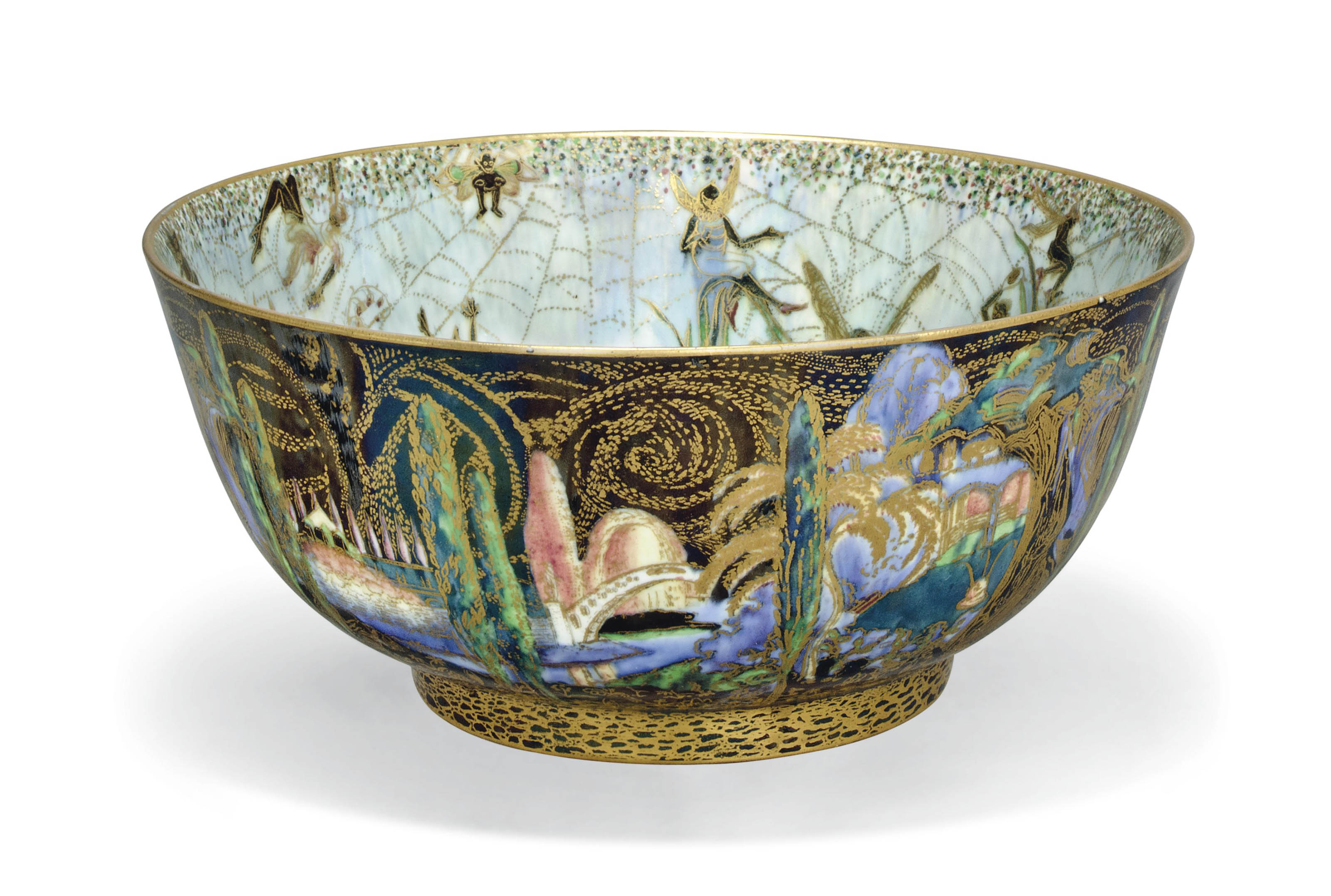A WEDGWOOD FAIRYLAND LUSTRE 'ELVES AND BELL BRANCH' IMPERIAL BOWL DESIGNED BY DAISY MAKEIG-JONES