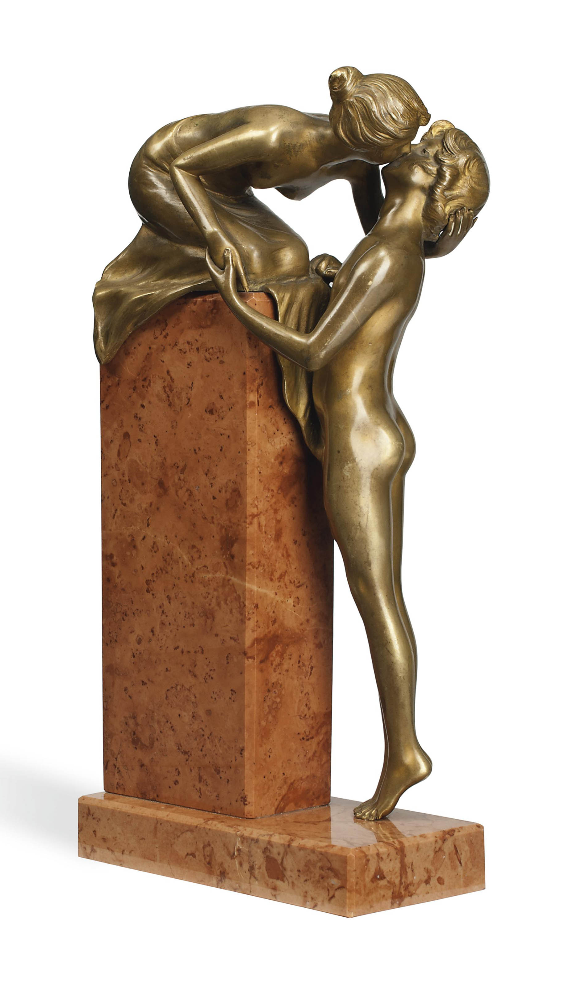 'THE KISS' A FRANZ XAVIER BERGMANN (1861-1936) COLD-PAINTED BRONZE  GROUP