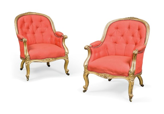 A PAIR OF VICTORIAN GILTWOOD B