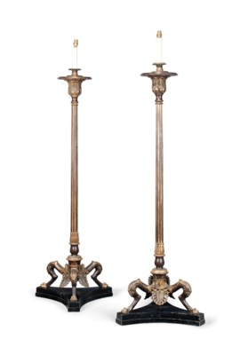 A PAIR OF PARCEL-GILT CAST-IRO