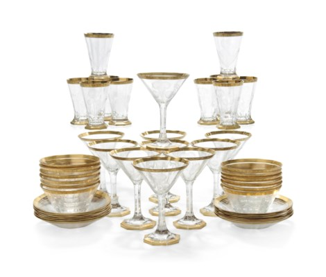 A BOHEMIAN PART SUITE OF GLASS