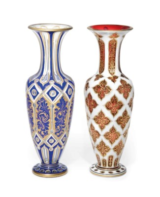 TWO BOHEMIAN CUT-GLASS VASES