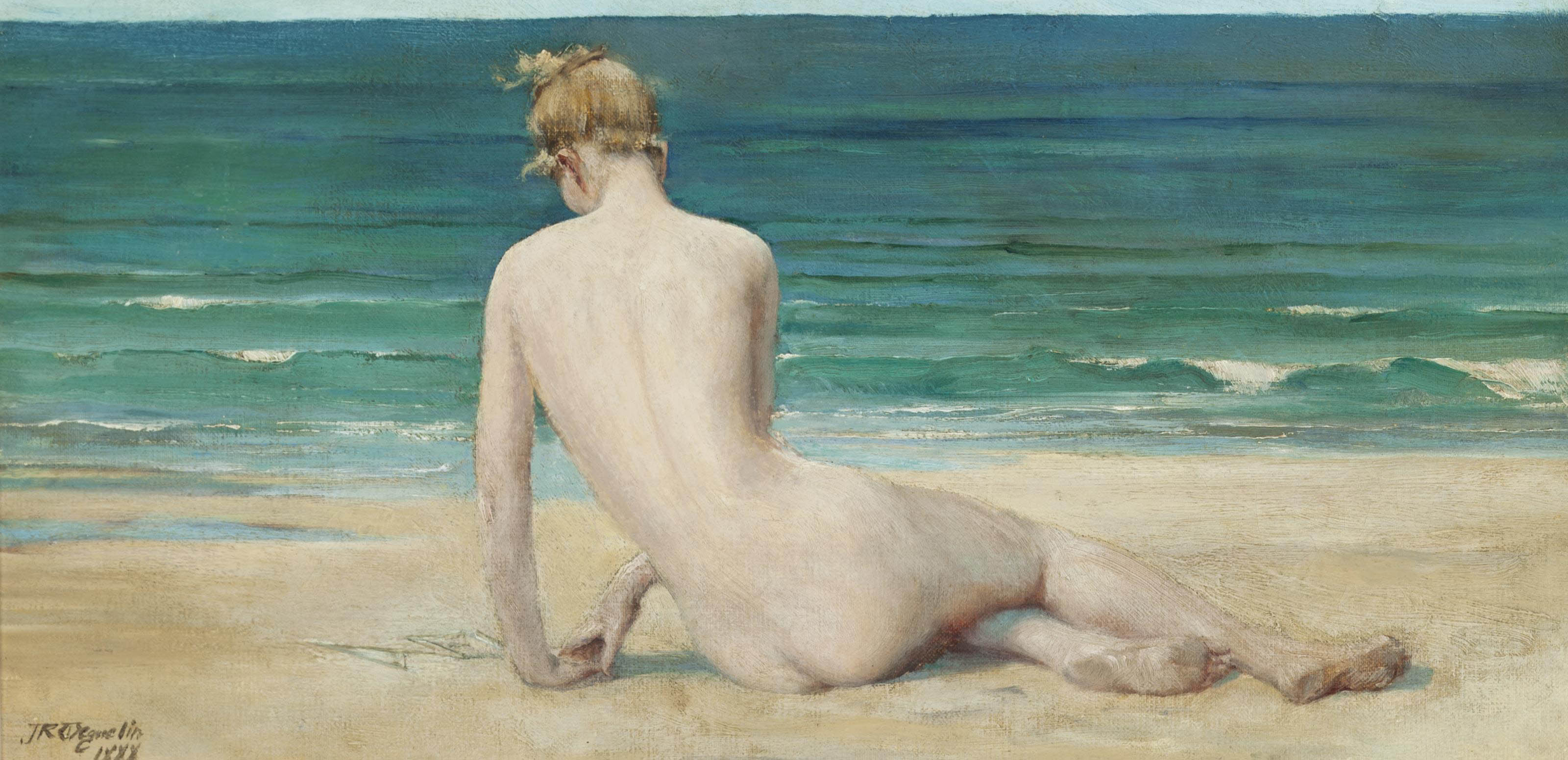 A nude seated on the shore