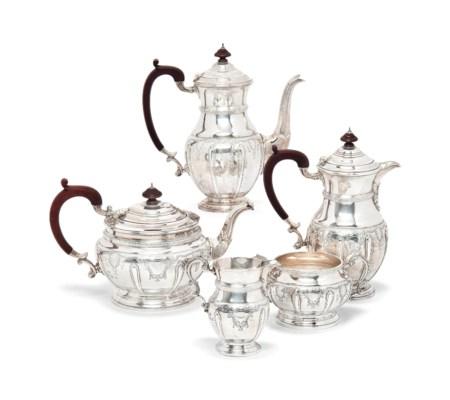 A FIVE-PIECE SILVER TEA SERVIC