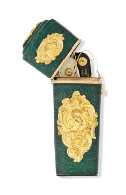 A GOLD-MOUNTED SHAGREEN ETUI