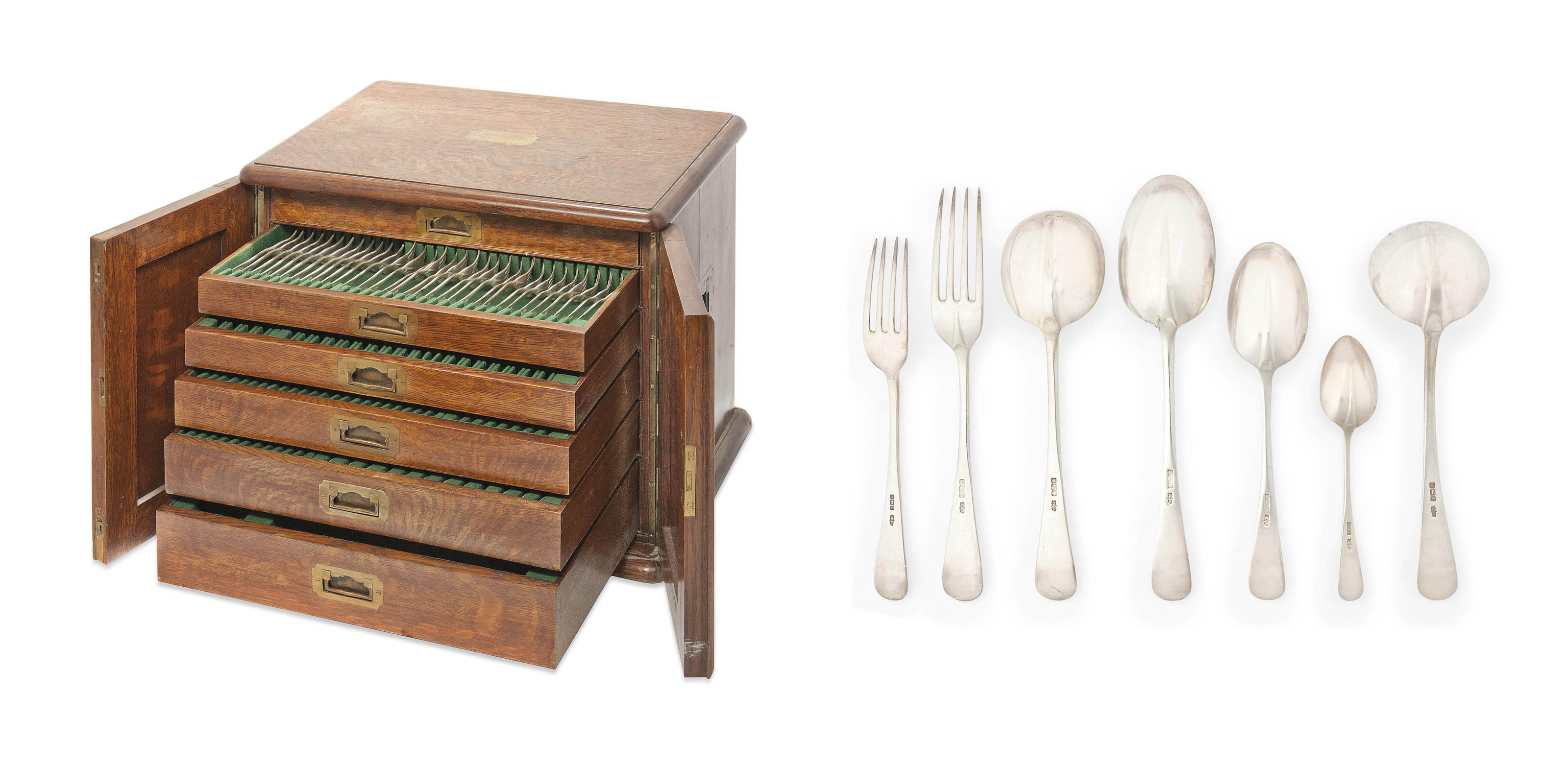 AN EDWARDIAN SILVER RAT-TAIL TABLE SERVICE IN SIX-DRAWER CANTEEN