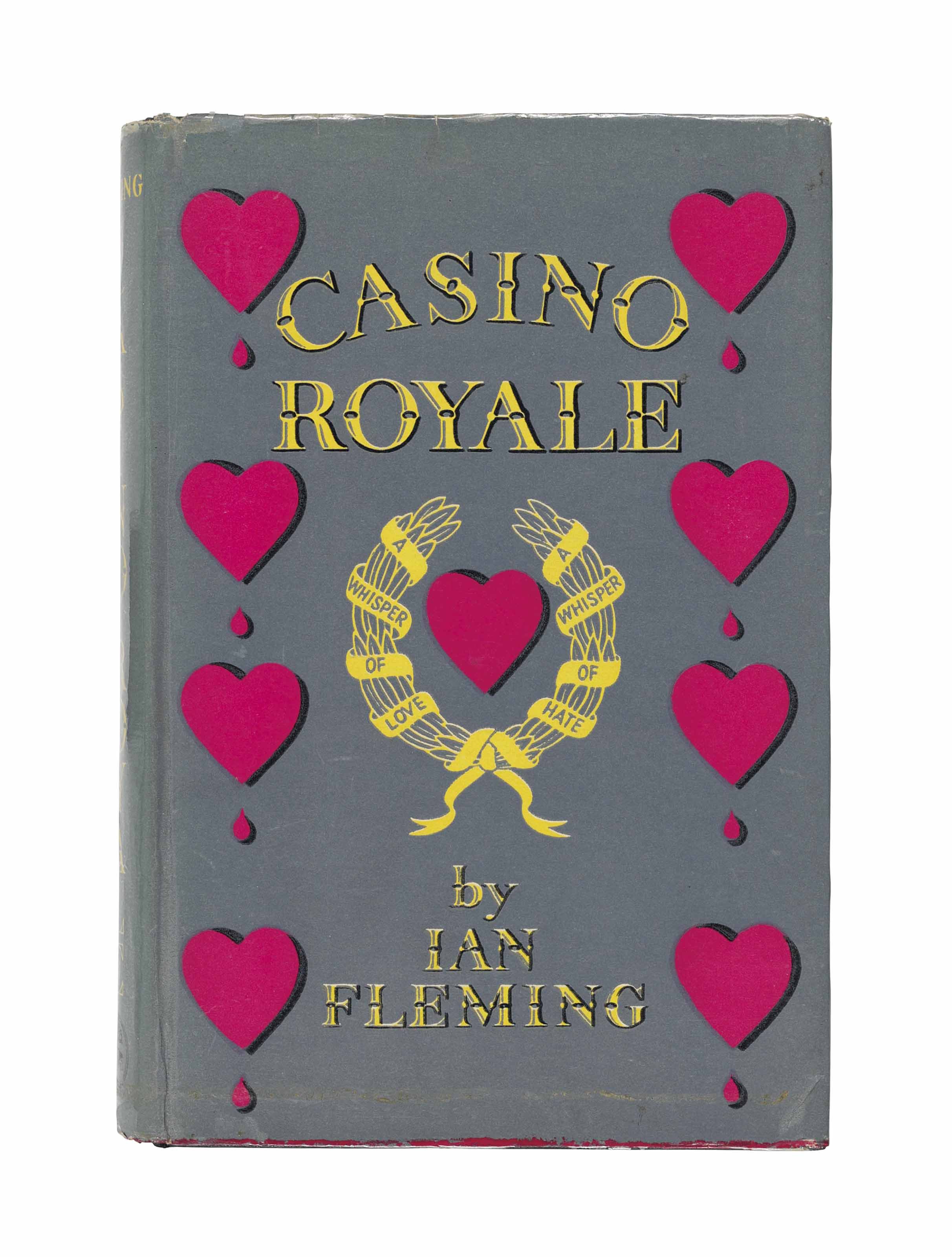 FLEMING, Ian (1908-1964). Casino Royale. London: Jonathan Cape, 1953. 8° (190 x 124mm). (Marginal staining to front free endpaper and half-title with evidence of library shelfmark, a few leaves very lightly creased, occasional marginal light marking and finger-soiling.) Original black decorated cloth, red heart to upper board and lettered in red to spine, original pictorial dust-jacket priced 10s 6d and with blank rear flap but for price and title to corner (covers with tape marks and resultant abrasion from tape removal to lower cover, dust-jacket sometime laminated, light fraying to top edge, evidence of tape removal from bottom edge with some surface loss to lower cover, light staining to flaps).