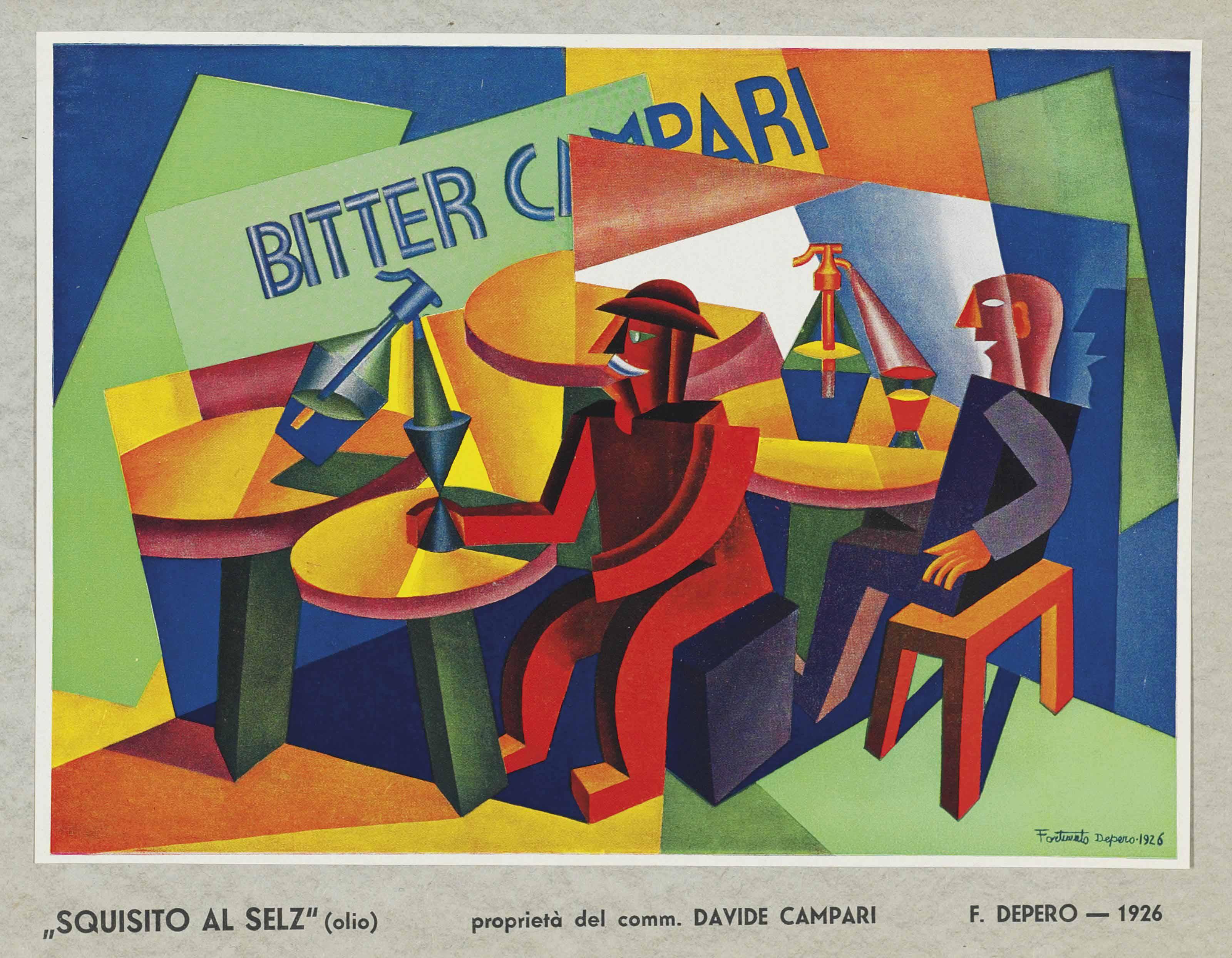 MARINETTI -- DEPERO, Fortunato (1892-1960). Saggio futurista 1932. In occasione della venuta nel trentino di S.E. Marinetti. [Also known as Futurismo 1932.] Rovereto: Mercurio, 1932. 2° (344 x 246mm). Halftone portrait frontispiece, two colour plates of which one mounted as issued, 8 monochrome plates, illustrations. (Corners bumped.) Original salmon-pink wrappers printed in gold and black (front cover unevenly faded, tears along the spine and at spine ends, corners bumped).