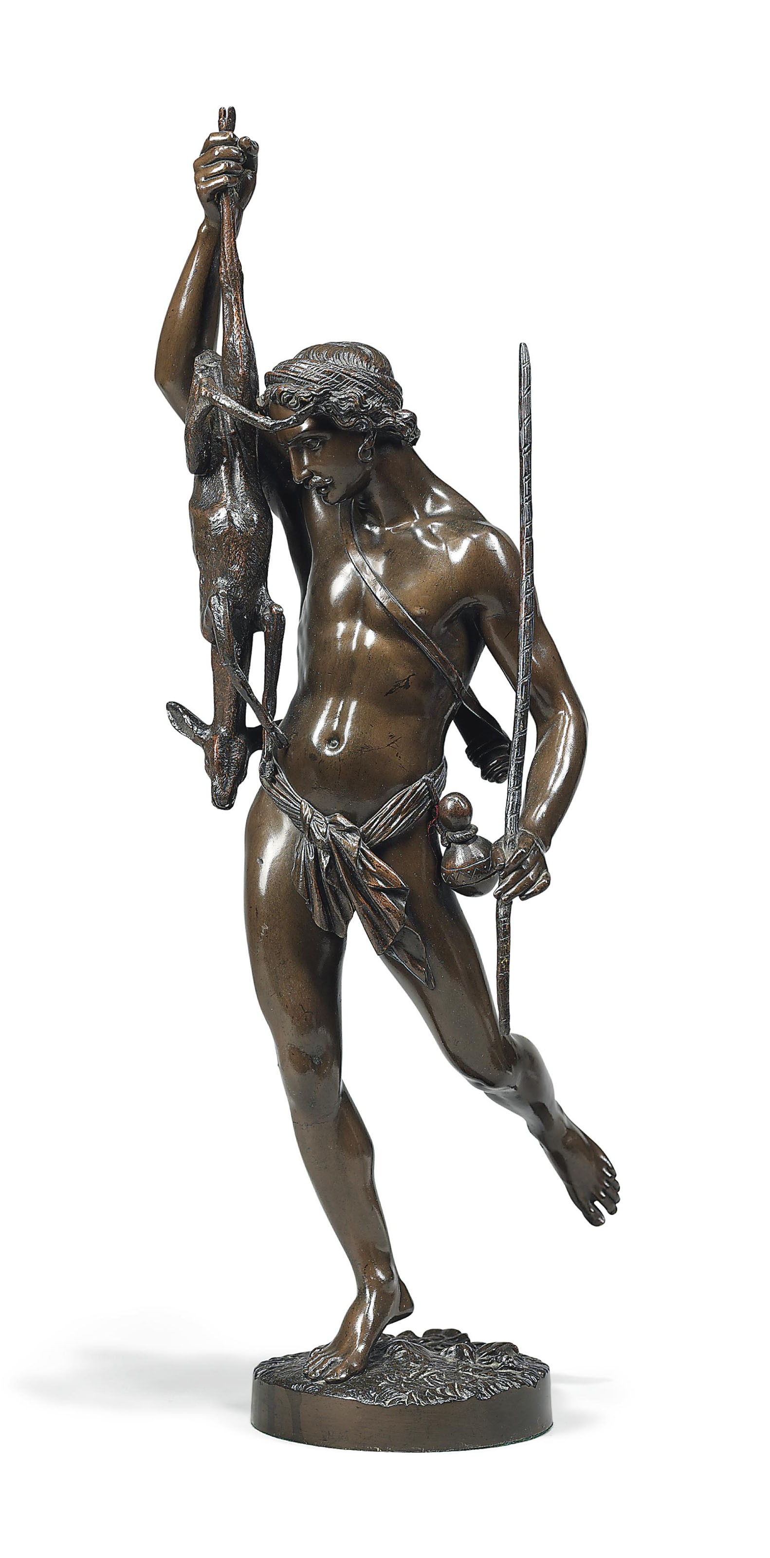 A FRENCH BRONZE FIGURE OF A CLASSICAL HUNTSMAN AND A FAWN, 'LA CHASSE'