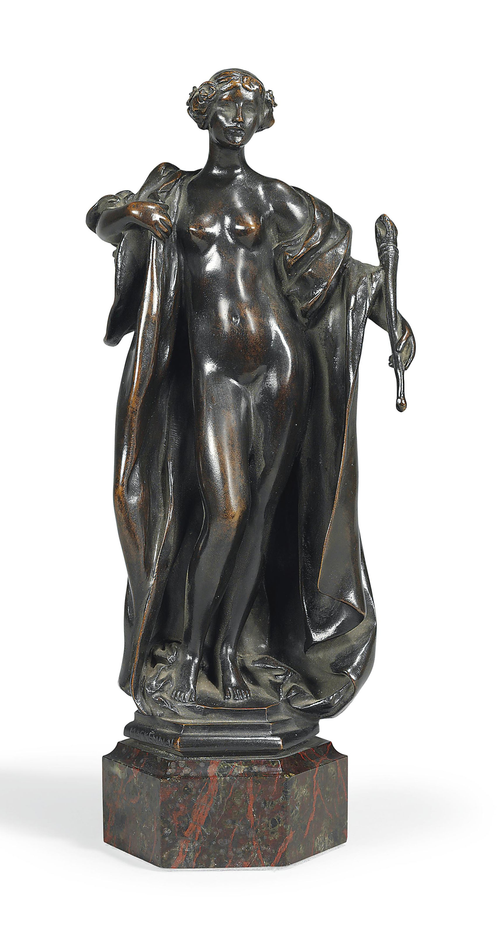 A BRONZE FIGURE OF A CLASSICAL WOMAN