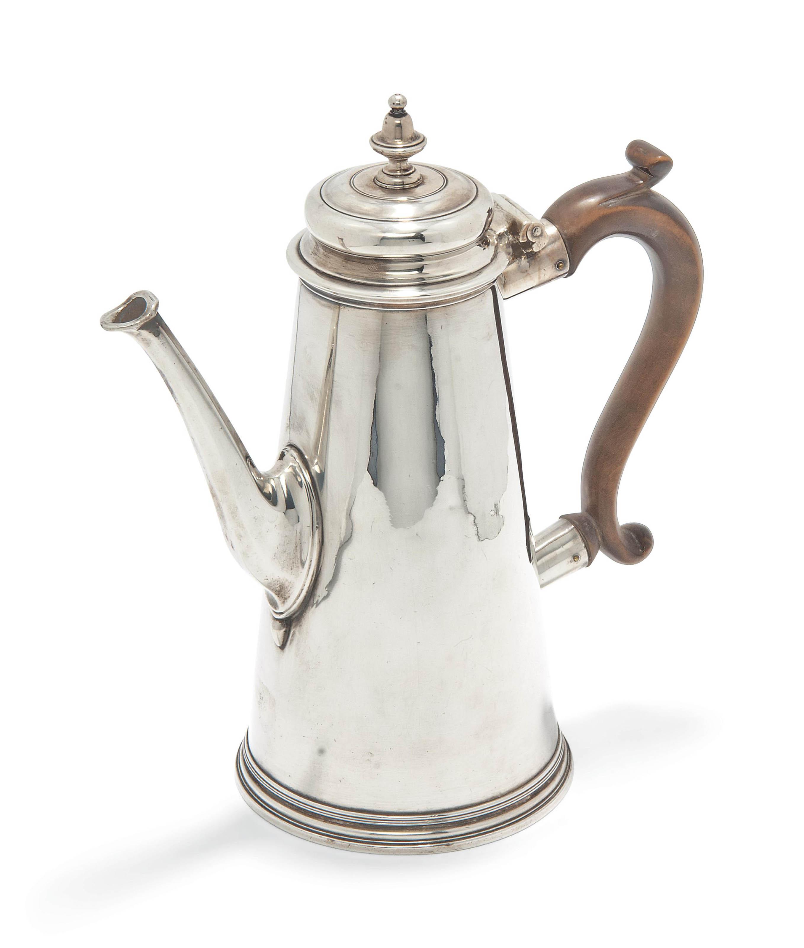 A GEORGE II TAPERING SILVER COFFEE POT