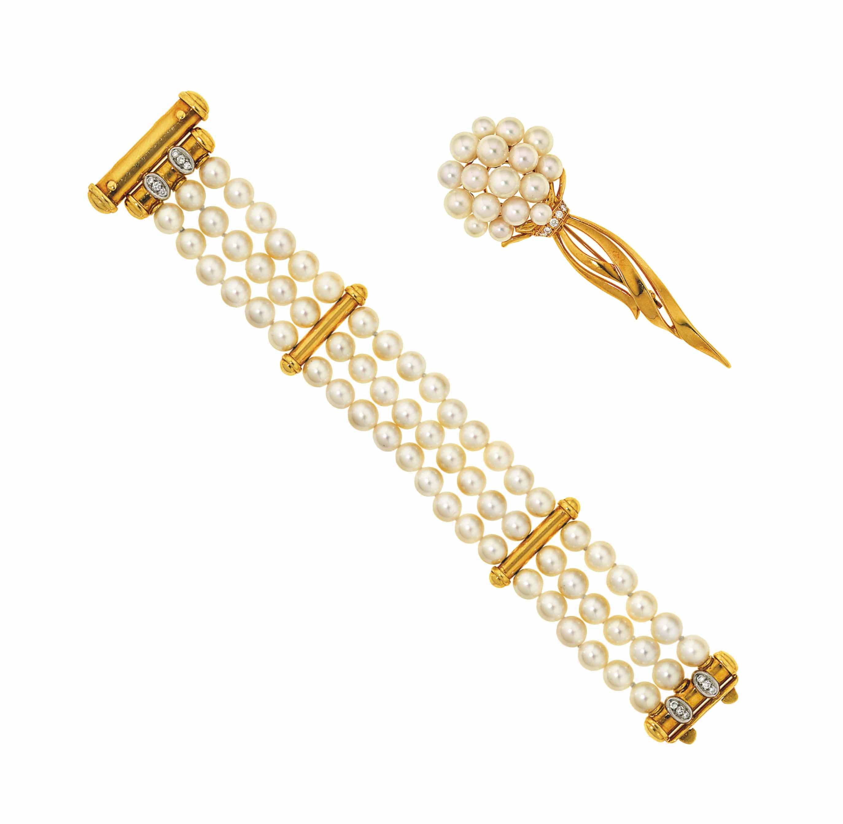 A cultured pearl and diamond bracelet and brooch, by Mikimoto