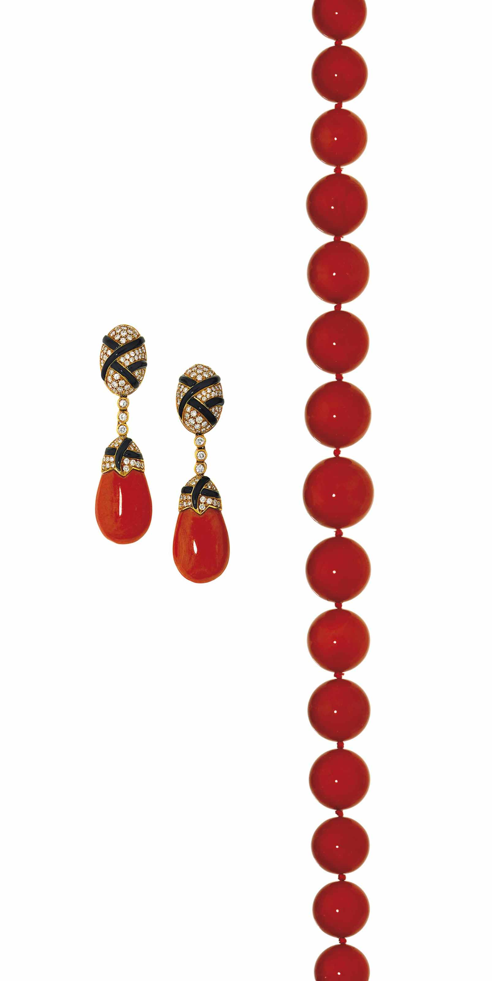 A coral bead necklace, by Trianon, and a pair of coral and diamond earrings