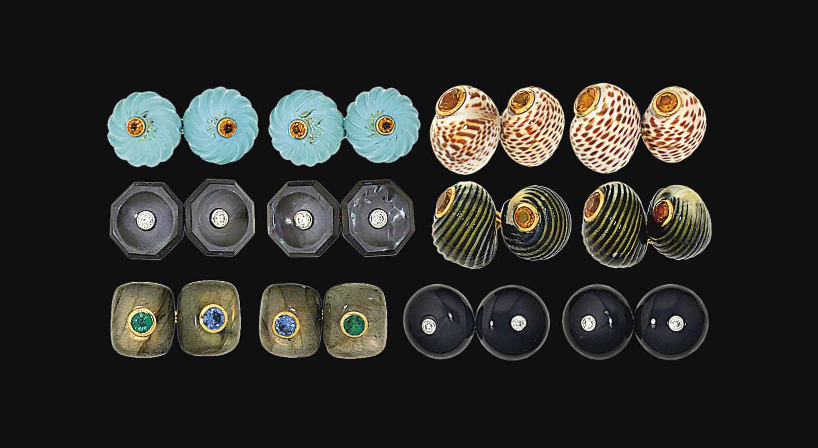 Six pairs of gem-set cufflinks, by Trianon
