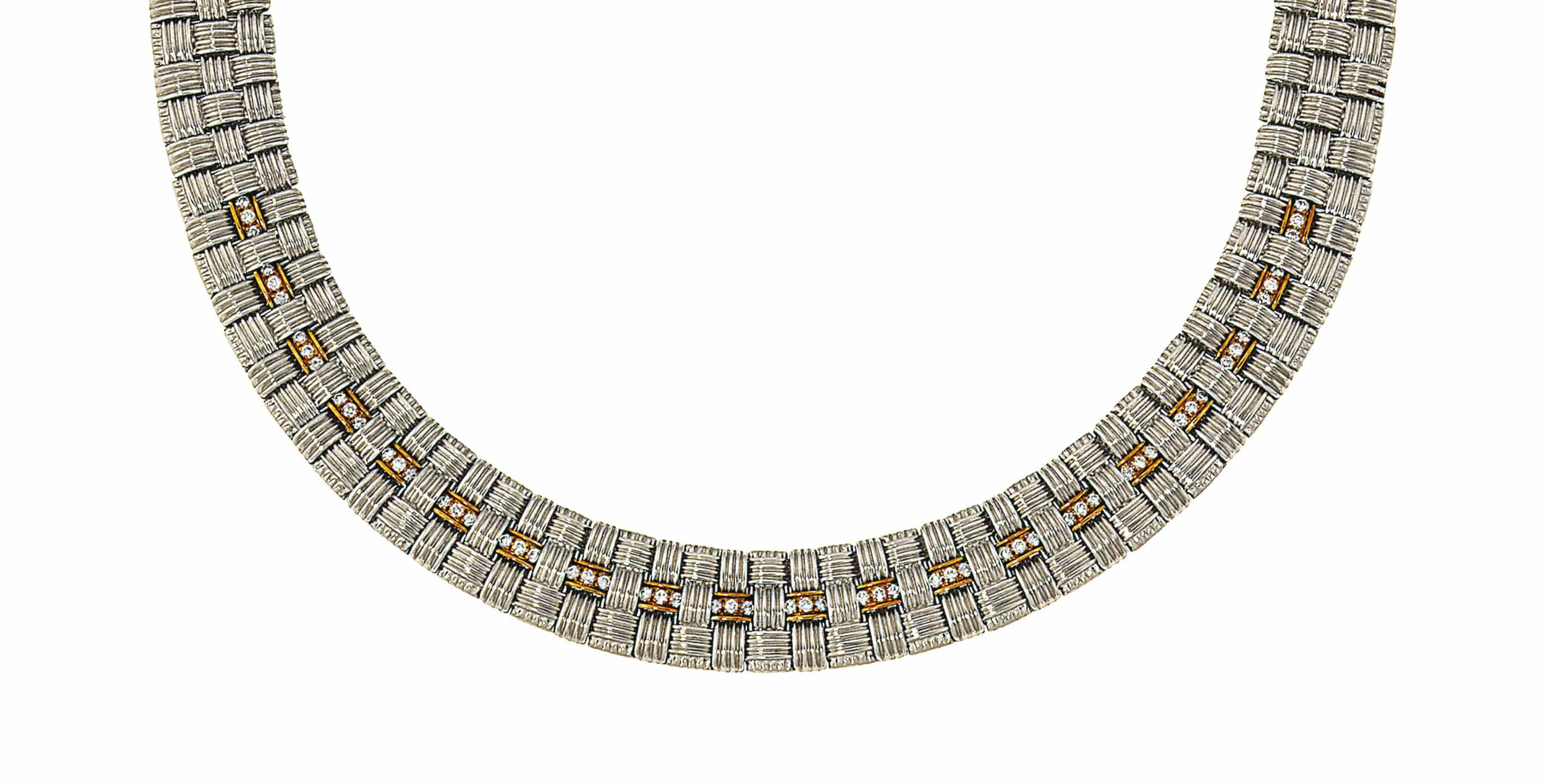 An 18ct gold, diamond and ruby necklace and bracelet, by Roberto Coin