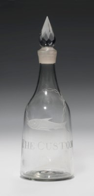 AN ENGRAVED GLASS SPIRIT DECAN