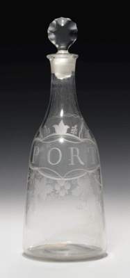 AN ENGRAVED GLASS PORT DECANTE