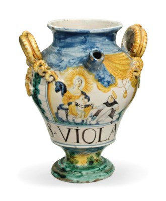 AN ITALIAN MAIOLICA TWO-HANDLE
