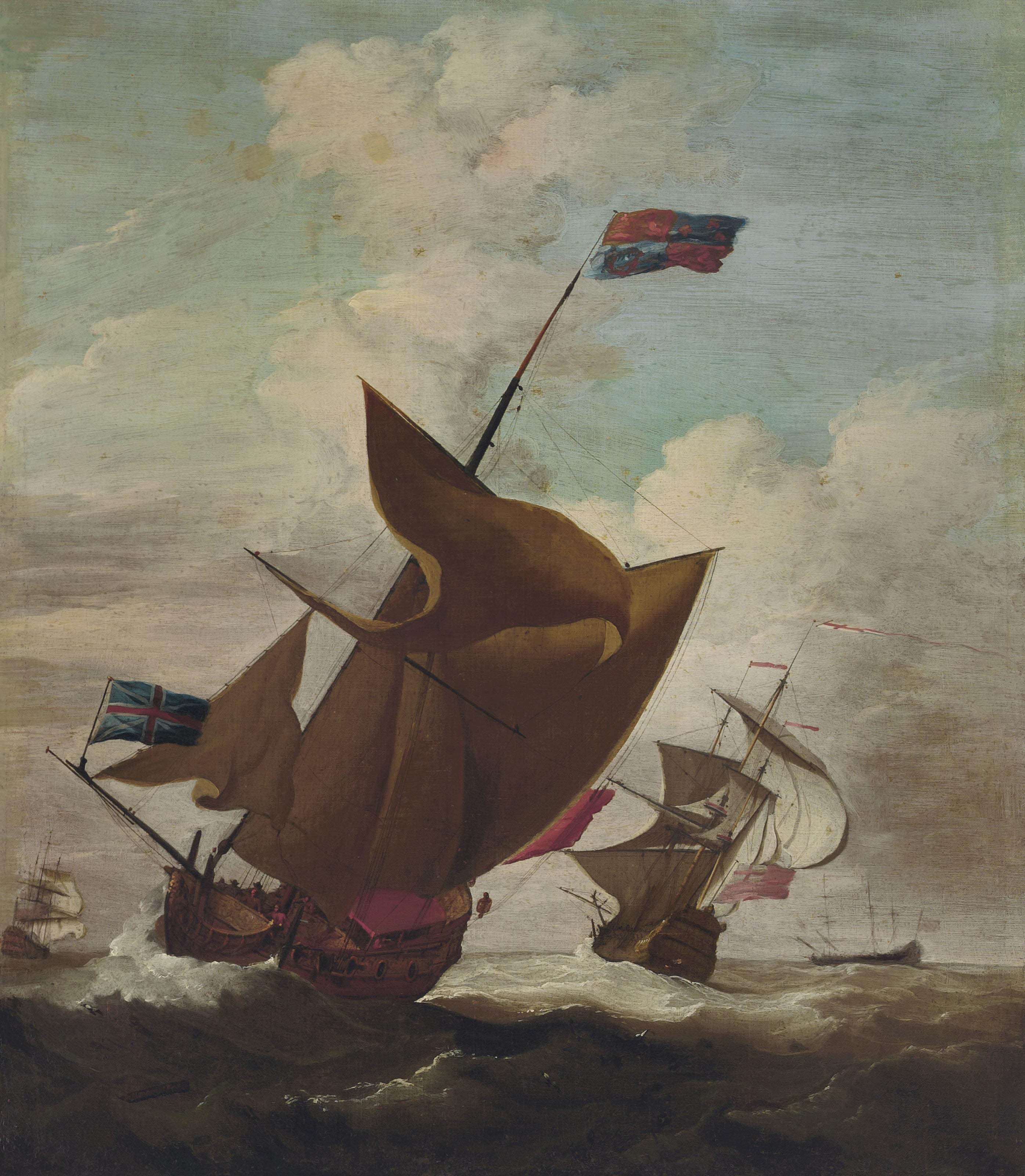 An English Royal Yacht, with the Lord High Admiral, Prince George (husband of Queen Anne, 1653-1708) aboard, amidst escorting warships in a stiff breeze possibly en route to Denmark, the Prince's home