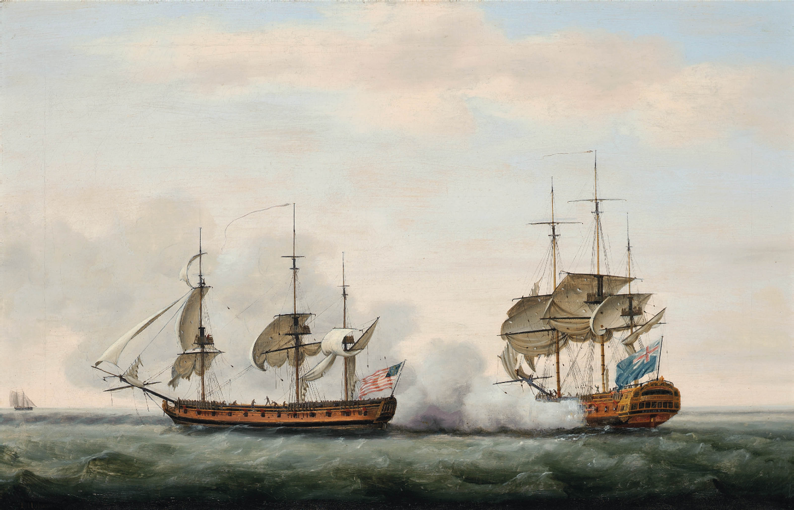 The East India Company's ship Bridgewater successfully defending her cargo from an attack by the American privateer Hampden on her way from St. Helena to England on 8th March 1779