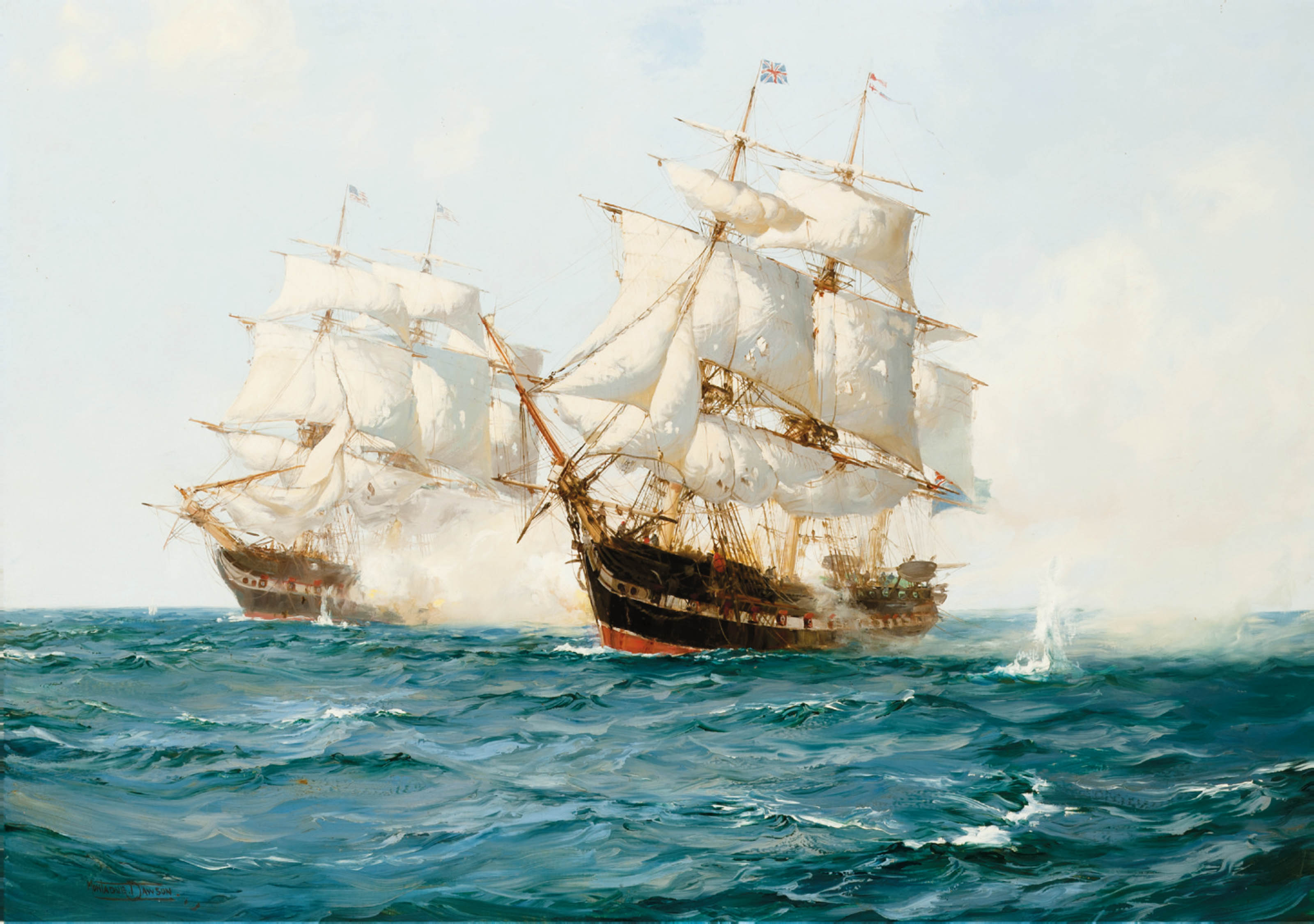 The opening salvoes of the action between H.M.S. Shannon and the U.S.S. Chesapeake, 1st June 1813